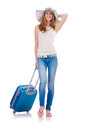 Girl with suitcases isolated on white Royalty Free Stock Images