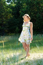 Girl in the summer clothes Royalty Free Stock Photo