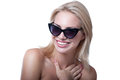 Girl with sun glasses funny beautiful young blond woman model wearing stylish black bright pink lipstick having fun laughing Royalty Free Stock Image