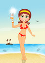Girl with sun lotion on the beach illustration of solar Stock Photography