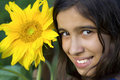 Girl with sunflower Royalty Free Stock Images
