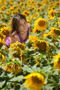 Girl in a sunflowers field happy young Stock Image
