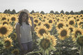 Girl at sunflowers field