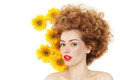 Girl with sunflowers young beautiful happy sexy woman curly hair and over white background Stock Photography