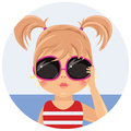 Girl in sunglasses the color illustration Royalty Free Stock Photo