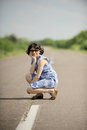Girl sunglasses road Royalty Free Stock Photo