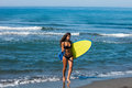 Girl with surfboard Royalty Free Stock Photo