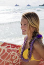 Girl with surfboard at kailua beach Royalty Free Stock Photo