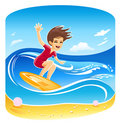 Girl Surfer Vector Royalty Free Stock Image