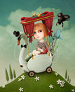 Girl and swan conceptual illustration or poster travels on computer graphics Royalty Free Stock Photography