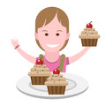 Girl with sweets illustration of a on a white background Stock Photography