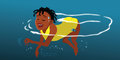 Girl swimming the doggy paddle cartoon illustration of a Stock Images