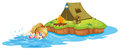 A girl swimming near an island with tent illustration of on white background Stock Image