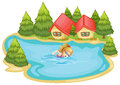 A girl swimming near the pine trees illustration of on white background Royalty Free Stock Images