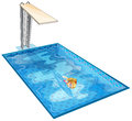 A girl swimming at the pool with a diving board illustration of on white background Royalty Free Stock Image