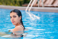 Girl in swimming pool horizontal photo of a beautiful Stock Image