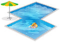 A girl swimming at the pool illustration of on white background Royalty Free Stock Photo