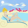 Girl at swimming pool vector Stock Photos
