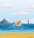 A girl swimming at the sea with a beacon at the back illustration of Royalty Free Stock Photography