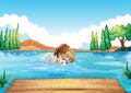 A girl swimming at the sea illustration of Royalty Free Stock Photos