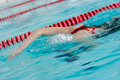 Girl swimming stroke or crawl face down Stock Photos
