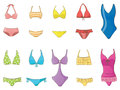 Girl swimsuit collection set create vector Stock Images