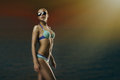 Girl in swimwear fashion portrait of young blond woman Royalty Free Stock Photos