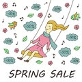 stock image of  Girl on the swing. Spring sale. Illustration in doodle and cartoon style