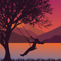 Girl swing in tree near lake during sunset enjoy time moment silhouette