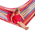 Girl swinging on a hammock isolated white background Royalty Free Stock Image