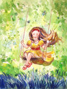 Girl swinging on a swing. Watercolor illustration