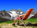 Girl in the swiss alps on background mount gabelhorn Royalty Free Stock Photography
