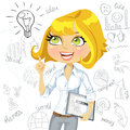Girl with tablet pc inspiration idea on business d electronic doodles background Stock Photos
