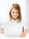 Girl with tablet pc at school education technology and internet concept little student Stock Photo