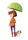 Girl takes the dog for a walk in rainy day Stock Images