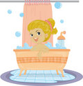 A Girl Taking Bath Royalty Free Stock Photo