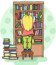 Girl taking a book from a shelf in the library  school education - Vector illustration Royalty Free Stock Photo