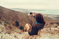 Girl taking photographs landscape with phone young woman beautiful mobile Stock Photography