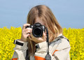 Girl taking photos Royalty Free Stock Images