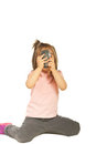 Girl taking photos with mobile phone Royalty Free Stock Images