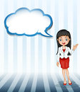 A girl talking with an empty cloud template illustration of on white background Stock Images
