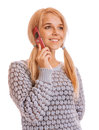 Girl talking on her cell phone and smiling isolated white background Royalty Free Stock Photos