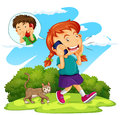 Girl talking to boy on the phone illustration Royalty Free Stock Image