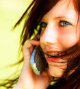 Girl talking to boyfriend or girlfriend Royalty Free Stock Image