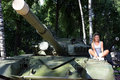 Girl on tank Royalty Free Stock Photo