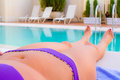 Girl tanning in summer Royalty Free Stock Photo