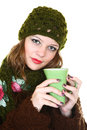 Girl and tea Royalty Free Stock Photography