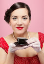 Girl with tea cup Stock Images
