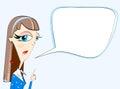 Girl teacher explaining subject in bubble isolated on light horizontal background