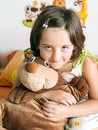 Girl and teddy bear little with her Stock Photo
